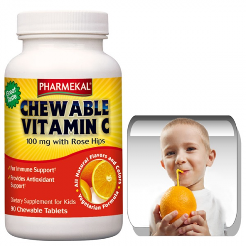 C-vitamin 100 mg rágótabletta csipkebogyóval, narancs ízben 90db
